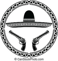 stencil of mexican sombrero and two pistols. first variant.