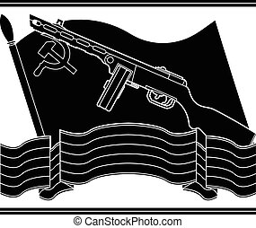 stencil of soviet machine gun