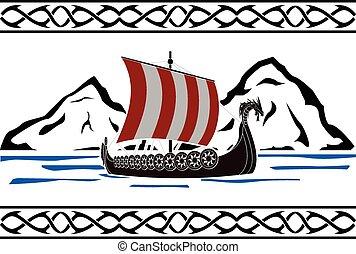 stencil of viking ship. second variant