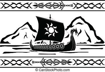 stencil of viking ship. vector illustration