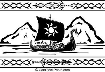 stencil of viking ship. raster variant