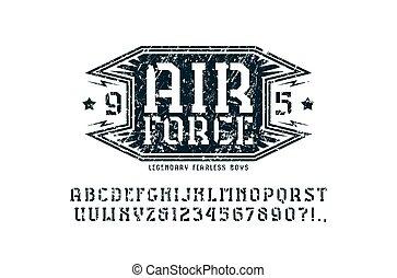 stencil-plate, emblem, luft, serife, zwingen, schriftart