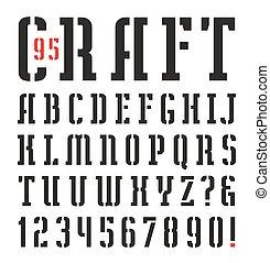 stencil-plate, fuente, serif, estrecho