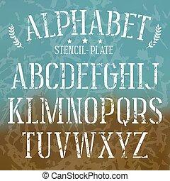 stencil-plate, fuente, serif