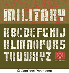 Stencil-plate sans serif font in military style with shabby texture