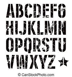 stencil-plate, sans, style, empattement, militaire, police