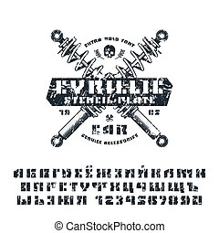 Stencil-plate sanserif cyrillic font and numeral