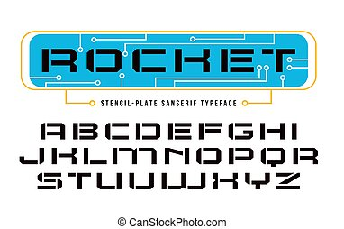 Stencil-plate sanserif font in computer style