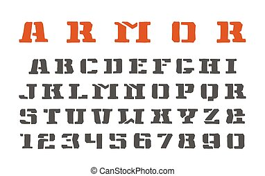 Stencil-plate serif font and numerals