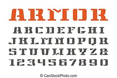 Stencil-plate serif font and numerals in military style