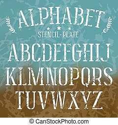 Stencil-plate serif font with shabby texture. Medium face. White print on blurred background