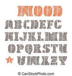 stencil-plate, serif, fuente