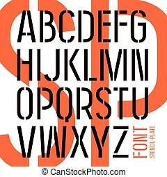 stencil-plate, sin, estilo, serif, militar, fuente