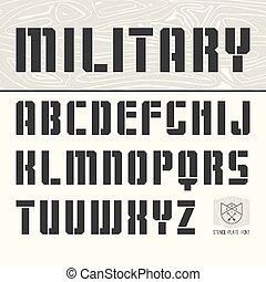 stencil-plate, sin, serif, fuente