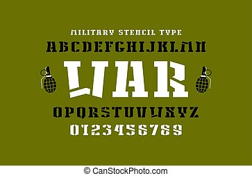 Stencil-plate slab serif font in military style