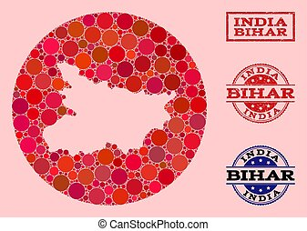 Stencil Round Map of Bihar State Mosaic and Rubber Seal