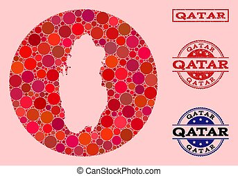 Stencil Round Map of Qatar Mosaic and Scratched Seal