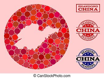 Stencil Round Map of Shandong Province Mosaic and Watermark Seal