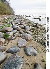 stenede, kyst, i, baltiskt hav, tidlige formiddag ind