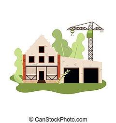 stenen, bakstenen, woning, of, bouwsector, nieuw, kraan, witte