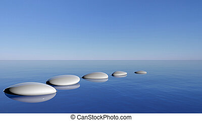 stenen, blauwe , zen, water