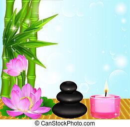 stenen, bloem, palma, achtergrond, spa, kaarsje