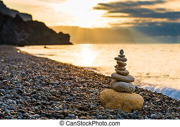 stenen, close-up, concept, foto, witte , -, piramide, kiezelsteen, evenwicht, strand, dageraad