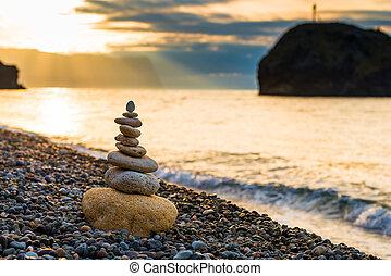 stenen, close-up, piramide, witte , -, kiezelsteen, evenwicht, strand, dageraad
