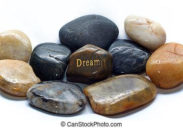 stenen, droom, opgepoetste rots