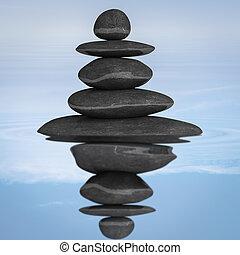 stenen, evenwicht, concept, zen