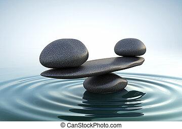 stenen, evenwicht, zen