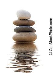 stenen, evenwichtig, zand, stapel, vrijstaand