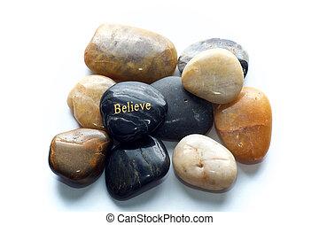 stenen, geloven, opgepoetste rots