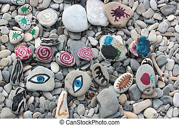 stenen, geverfde, kinderen, zee