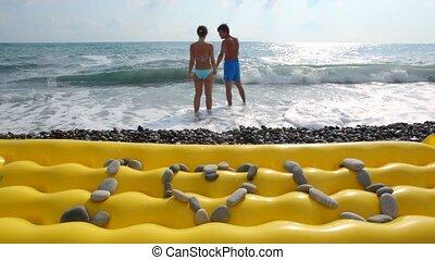 stenen, inscriptie, vrouw, liefde, zee, strand, achtergrond...