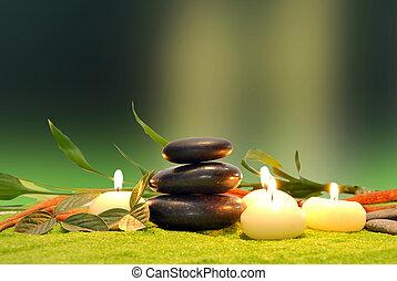 stenen, kaarsjes, spa