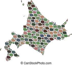 stenen, kaart, hokkaido, japanner, mozaïek