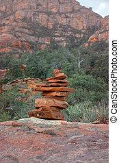 stenen, landschap., sedona, wandelende, rotsen, spoor, arizona, het in evenwicht brengen, harmonie, tranquil
