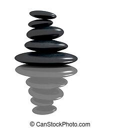stenen, spa, concept, zen, basalt
