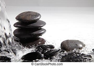 stenen, spa, water