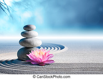 stenen, spa, zand, lelie, tuin