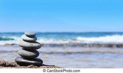 stenen, strand., piramide, achtergrond, oceaan