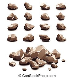 stenen, vector, set, spotprent, iconen