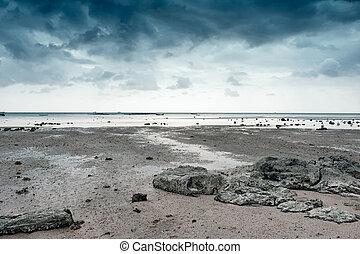 stenen, voorgrond, natuur, fotografie, hemel, achtergrond., dramatisch, zee, landscape