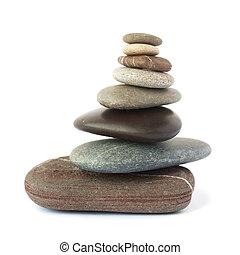 stenen, vrijstaand, achtergrond., kiezelsteen, toren, witte