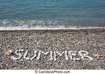 stenen, woord, gecombineerd, strand, starfish., water,...