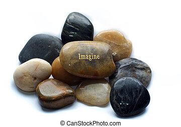 stenen, zich voorstellen, opgepoetste rots