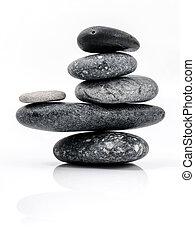 stenen, zoals, stapel, zen, scène, vrijstaand, achtergrond., behandeling, spa, concepts., witte