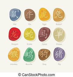 stenen, zodiac, set, chinees, meldingsbord