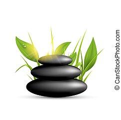 stenen, zonneschijn, vrijstaand, spa, witte , gras, stapel